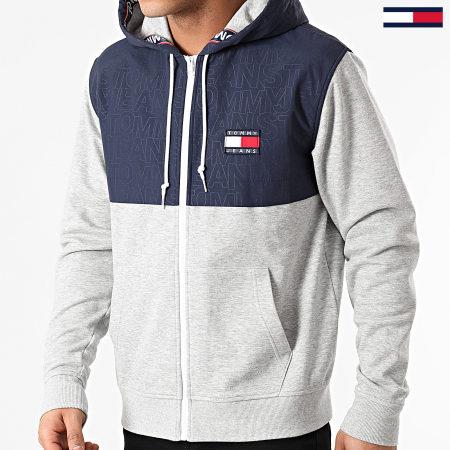 Tommy Jeans - Sweat Capuche Contrast Zip 0717 Gris Chiné Bleu Marine