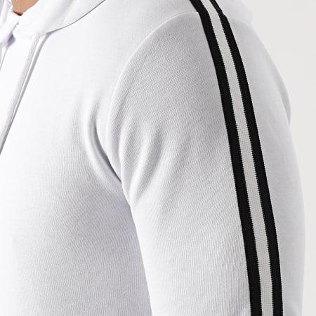 LBO - Sweat Capuche Avec Bandes Noir Blanc 1551 Blanc