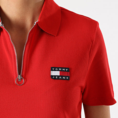 Tommy Jeans - Polo Manches Courtes Femme Tommy Badge 9146 Rouge