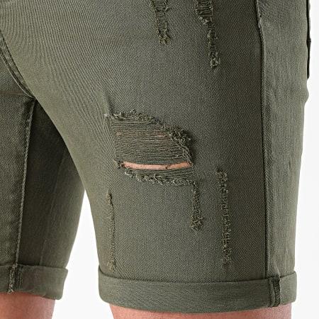 LBO - Short Jean Avec Dechirures B156PE21 Vert Kaki