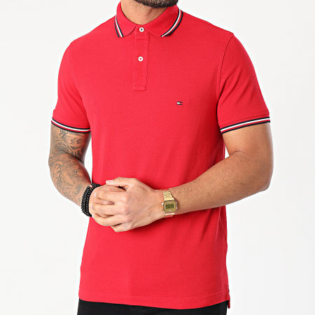 Tommy Hilfiger - Polo Slim Manches Courtes Tommy Tipped 6054 Rouge