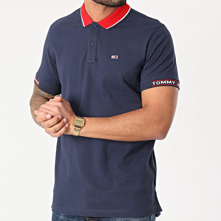 Tommy Jeans - Polo Manches Courtes Rib Jaquard 0326 Bleu Marine