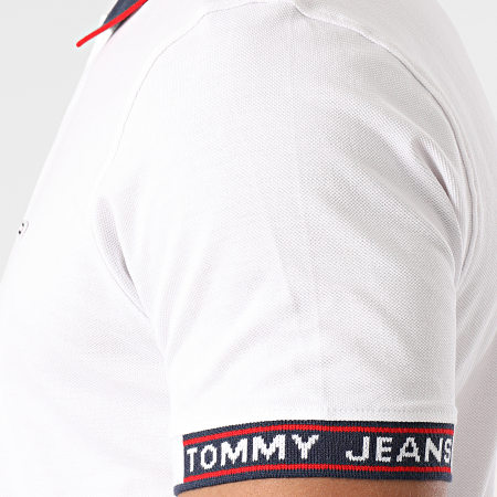Tommy Jeans - Polo Manches Courtes Rib Jaquard 0326 Blanc