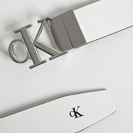 Calvin Klein - Ceinture Réversible Femme Mono Round Plaque 7737 Blanc