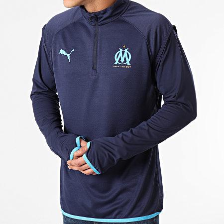 Puma - Sweat Col Zippé OM Warmup Midlayer Bleu Marine