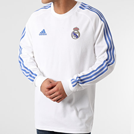 adidas - Tee Shirt Manches Longues A Bandes Real Madrid Icons GI0007 Blanc