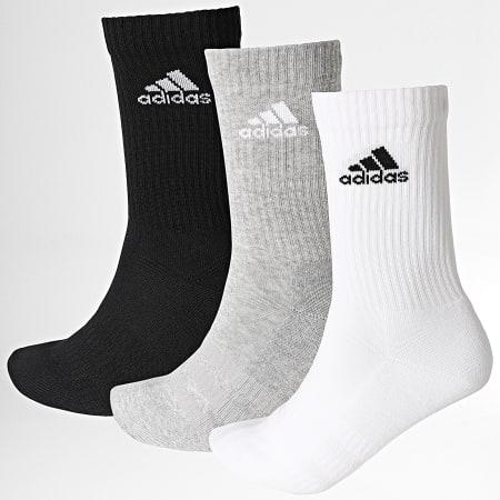 adidas - Lot De 3 Paires De Chaussettes Cush Crew DZ9355 Noir Blanc Gris Chiné