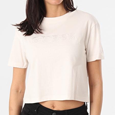 Guess - Tee Shirt Crop Femme O1GA06-K8HM0 Beige