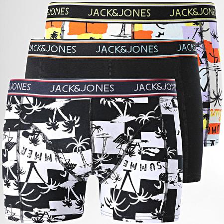 Jack And Jones - Lot De 3 Boxers Summer Paper Noir Blanc Orange Floral