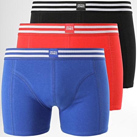 Jack And Jones - Lot De 3 Boxers Sporty Look Noir Bleu Roi Rouge