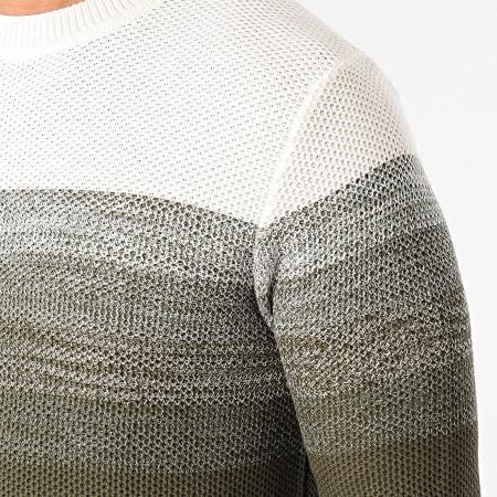 Produkt - Pull A Rayures Tori Garry Knit Vert Kaki Blanc