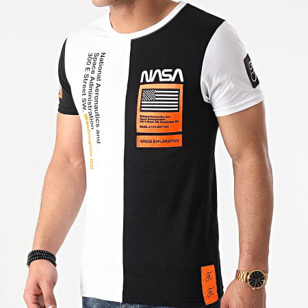 Final Club x NASA - Tee Shirt Nasa Half Limited Edition Noir Blanc Détails Orange Fluo