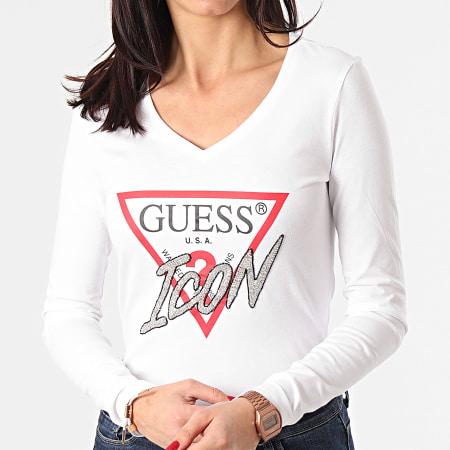 Guess - Tee Shirt Manches Longues Femme Col V A Strass W1RI52-I3Z00 Blanc