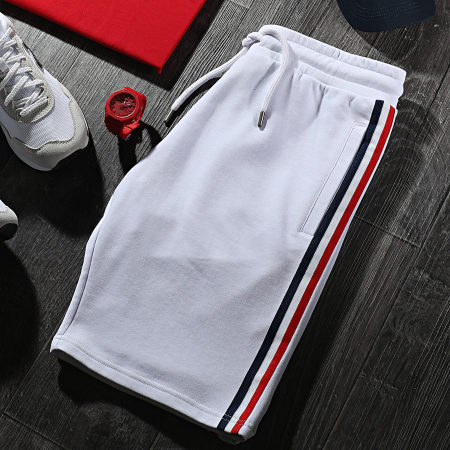 LBO - Short Jogging A Bandes Tricolores 1494 Blanc
