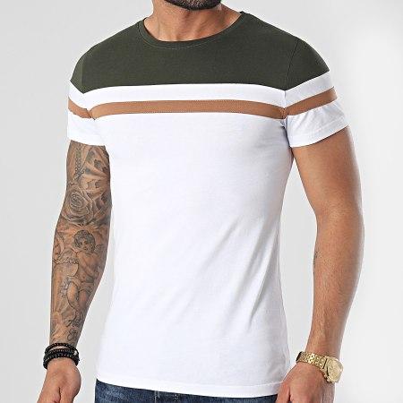 LBO - Tee Shirt Tricolore 1542 Kaki Camel Blanc