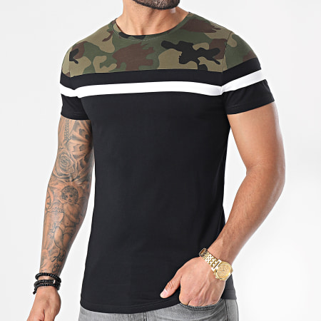 LBO - Tee Shirt Tricolore 1576 Vert Kaki Noir Camouflage