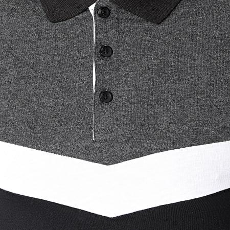 LBO - Polo Manches Courtes Tricolore 1554 Noir Gris Anthracite