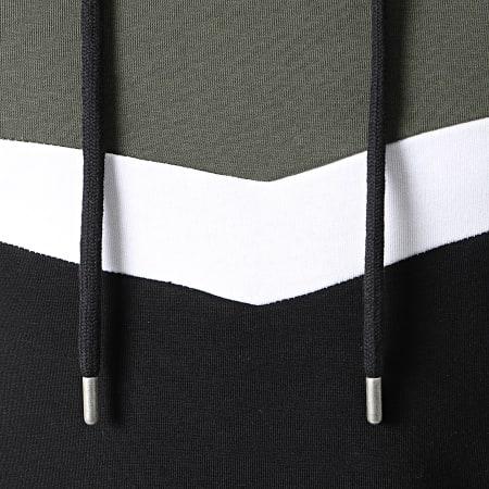 LBO - Sweat Capuche Oversize Tricolore Retro 1555 Kaki Blanc Noir