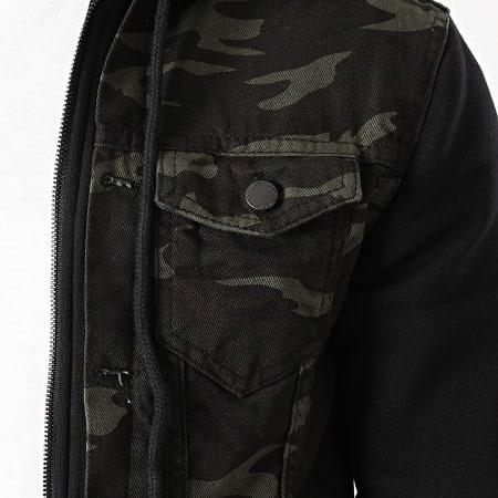 Zayne Paris - Veste Jean Capuche Camouflage VS20 Noir Vert Kaki