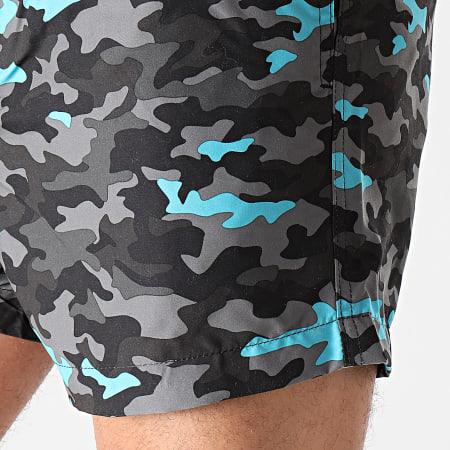 Brave Soul - Short De Bain Camouflage Elwood Gris Anthracite Bleu