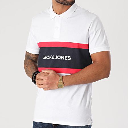 Jack And Jones - Polo Manches Courtes Shake Blanc Noir