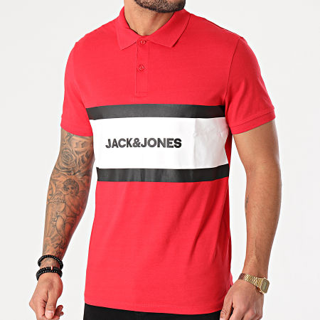 Jack And Jones - Polo Manches Courtes Shake Rouge Blanc