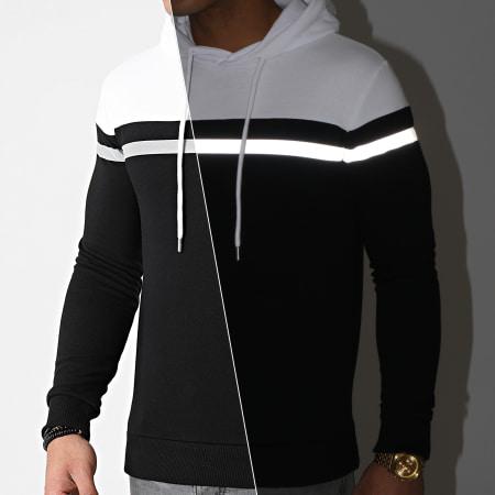 LBO - Sweat Capuche Tricolore Bande Reflector 1270 Noir Blanc
