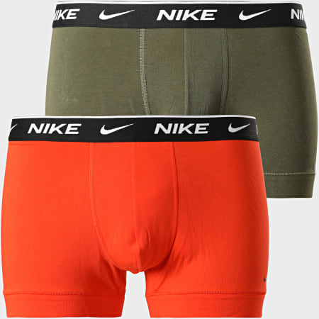Nike - Lot De 2 Boxers Everyday Cotton Stretch KE1085 Orange Vert Kaki