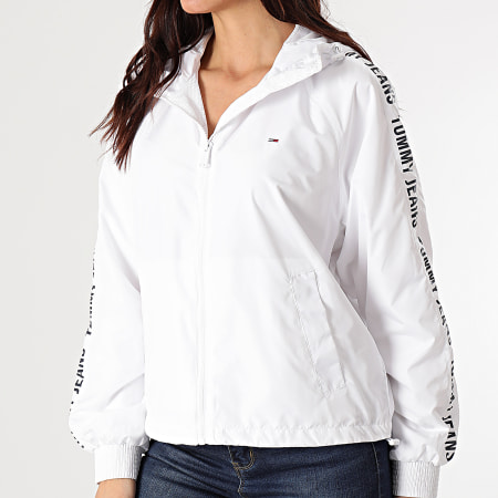 Tommy Jeans - Coupe-Vent Capuche A Bandes Tape 9929 Blanc