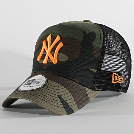 New Era - Casquette Trucker Camouflage New York Yankees Neon 12747720 Vert Kaki Noir Orange