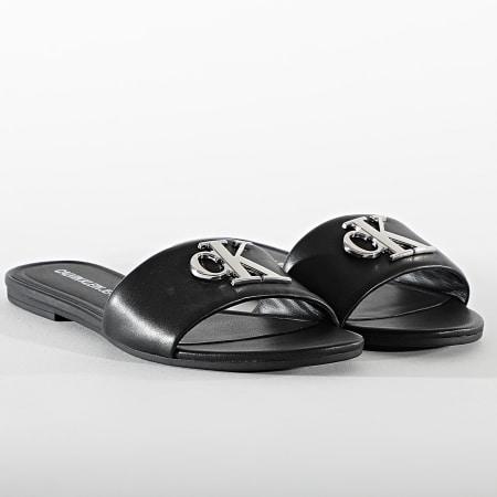 Calvin Klein - Claquettes Femme Flat Sandal Slide 0144 Black