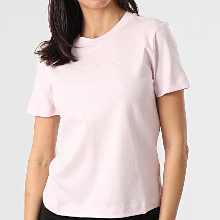 Calvin Klein Jeans - Tee Shirt Femme Shrunken Institutional 5322 Rose