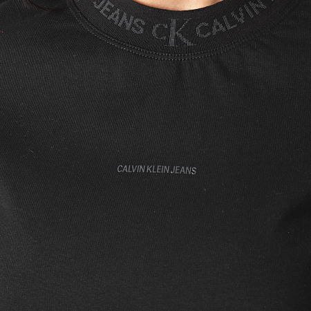 Calvin Klein Jeans - Tee Shirt Femme Logo Intarsia 5500 Noir