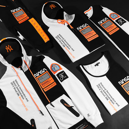 Final Club - Débardeur Nasa Half Limited Edition Noir Blanc Détails Orange Fluo