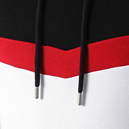 LBO - Sweat Capuche Oversize Tricolore Retro 1558 Noir Rouge Blanc