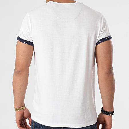 Deeluxe - Tee Shirt Poche Oasis Blanc Bleu Marine