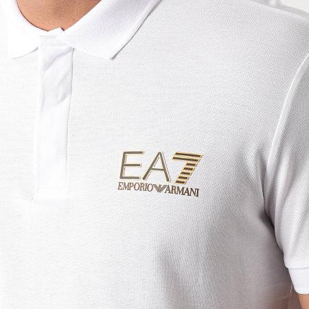 EA7 Emporio Armani - Polo Manches Courtes 3KPF36-PJ5AZ Blanc Doré