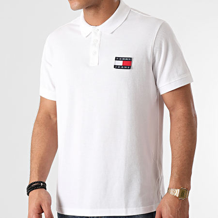 Tommy Jeans - Polo Manches Courtes Tommy Badge 0327 Blanc
