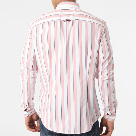 Tommy Jeans - Chemise Manches Longues A Rayures Essential Striped 0151 Blanc Rose