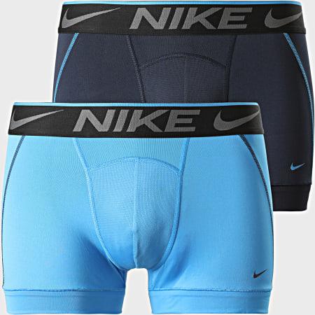Nike - Lot De 2 Boxers Breathe Micro KE1019 Bleu Marine Bleu Clair