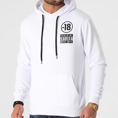 Parental Advisory - Sweat Capuche Back Logo Blanc