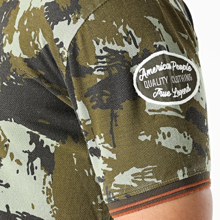 American People - Polo Manches Courtes Primo Camouflage Vert Kaki