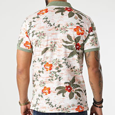 American People - Polo Manches Courtes Preston Orange Floral