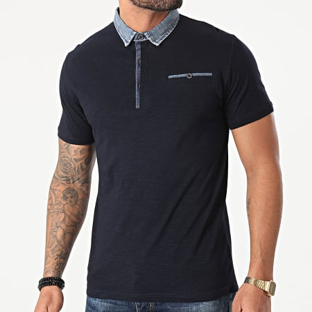American People - Polo Manches Courtes Poker Bleu Marine