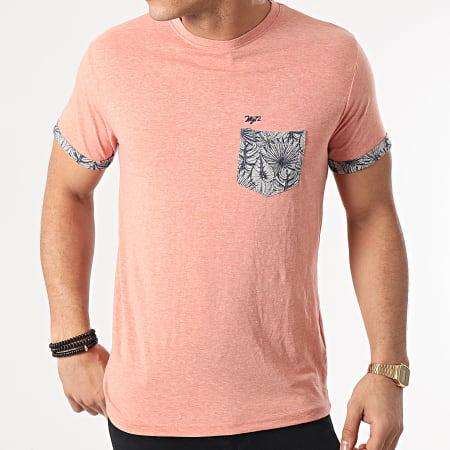 MZ72 - Tee Shirt Poche Floral Tidal Rouge Clair Chiné