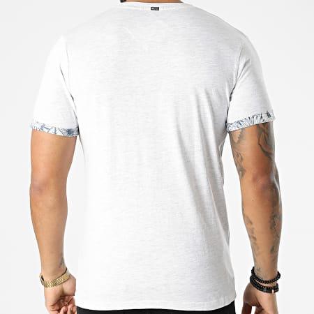MZ72 - Tee Shirt Poche Floral Tidal Blanc Chiné