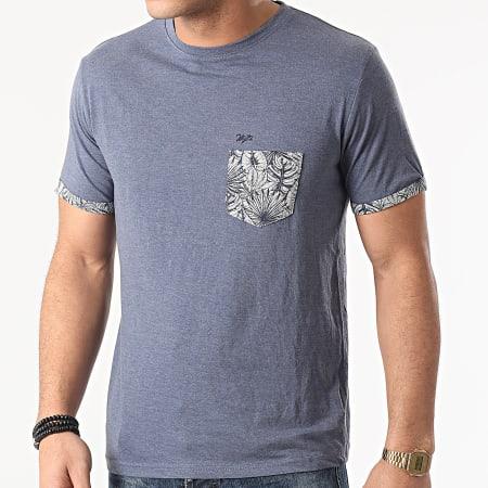 MZ72 - Tee Shirt Poche Floral Tidal Bleu Marine Chiné