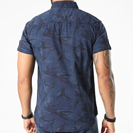 MZ72 - Chemise Manches Courtes Carlito Camouflage Bleu Marine