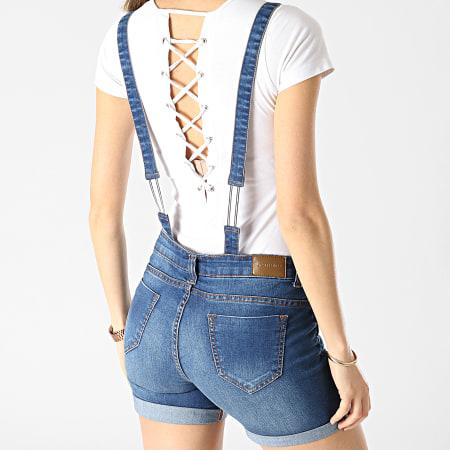 Girls Only - Salopette Short Jean Femme Shift Bleu Denim