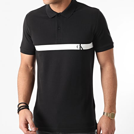 Calvin Klein Jeans - Polo Manches Courtes Horizontal CK Panel 7328 Noir Blanc